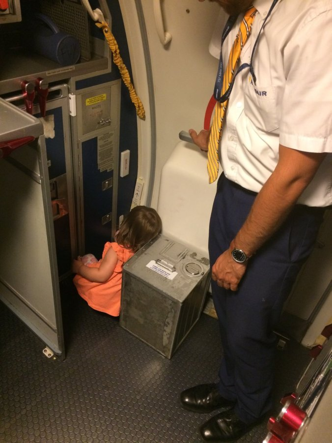 #1 Thing to do to pass the time on a flight is playing hide and seek in the air stewards area